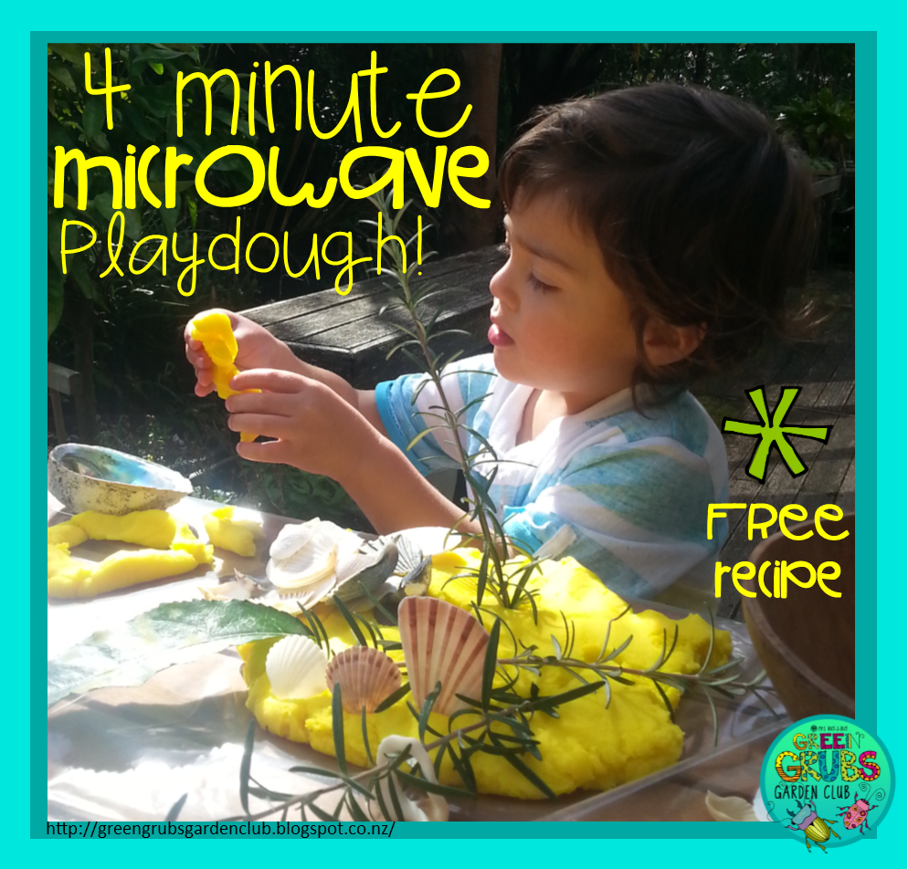 Shell and twig play with playdough (+ FREE 4 minute microwave playdough recipe + tips for classroom use}